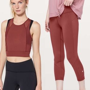 Lululemon pace rival crop and laser speed set